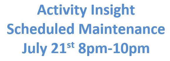 Activity Insight Scheduled Maintenance 7-21-17