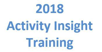 2018 Faculty Activity Insight Training